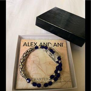 Alex & Ani Ethos Blue Beaded and Silver Bracelet